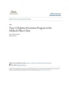 Type 2 Diabetes Prevention Program in the Medical Office Clinic