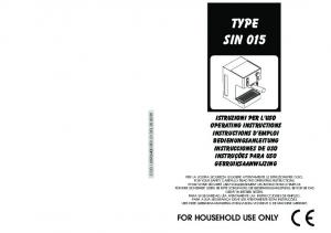 TYPE SIN 015 FOR HOUSEHOLD USE ONLY