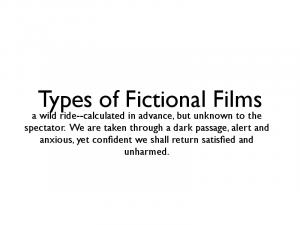 Types of Fictional Films