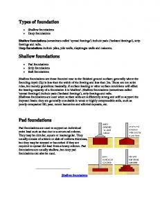 Types of foundation. Shallow foundations. Pad foundations. Shallow foundations Deep foundations