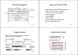 Types of Service (TOS) The IPv4 Datagram. Fragmentation. Fragmentation Example