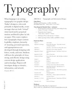 Typography. ART230 A Typography and Information Design