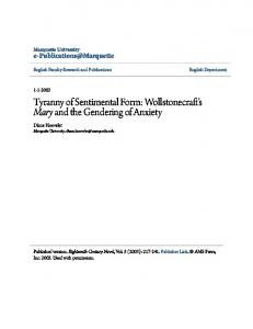 Tyranny of Sentimental Form: Wollstonecraft s Mary and the Gendering of Anxiety