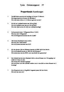 Tyske Dreisatzopgaver F7. Proportionale Zuordnungen