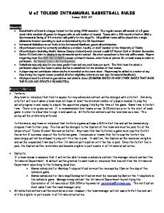 U of TOLEDO INTRAMURAL BASKETBALL RULES