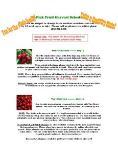 U-Pick Fruit Harvest Schedule