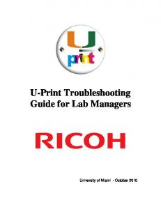 U-Print Troubleshooting Guide for Lab Managers