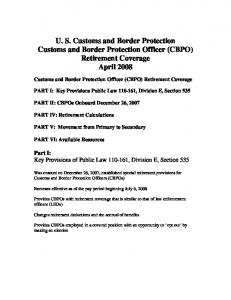 U. S. Customs and Border Protection. Customs and Border Protection Officer (CBPO) Retirement Coverage. April 2008