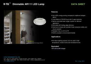U-TEL Dimmable AR111 LED Lamp DATA SHEET
