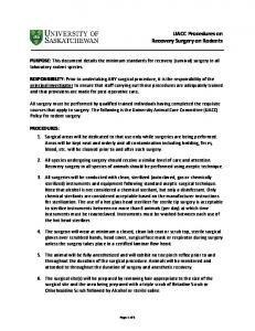 UACC Procedures on Recovery Surgery on Rodents