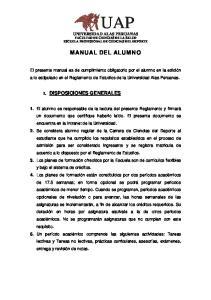 UAP UNIVERSIDAD ALAS PERUANAS FACULTAD DE CIENCIAS DE LA SALUD ESCUELA PROFESIONAL DE CIENCIAS DEL DEPORTE MANUAL DEL ALUMNO