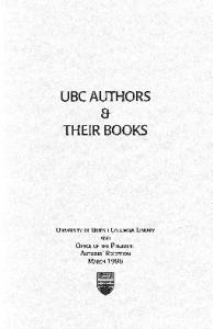 UBC AUTHORS. a THEIR BOOKS