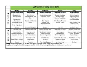 UCC Summer Camp Menu 2015