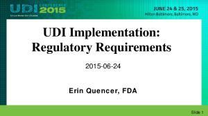 UDI Implementation: Regulatory Requirements