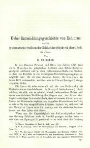 Ueber Entwicklungsgeschichte von Echiurus