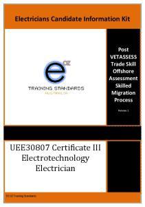 UEE30807 Certificate III Electrotechnology Electrician