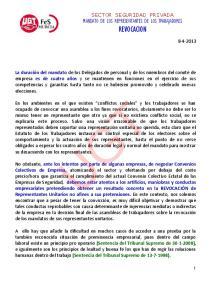 UGT SECTOR SEGURIDAD PRIVADA MANDATO DE LOS REPRESENTANTES DE LOS TRABAJADORES REVOCACION