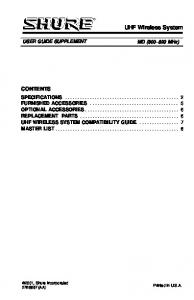 UHF Wireless System CONTENTS USER GUIDE SUPPLEMENT. MD ( MHz)