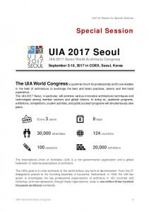 UIA 2017 Seoul UIA 2017 Seoul World Architects Congress September 3-10, 2017 in COEX, Seoul, Korea