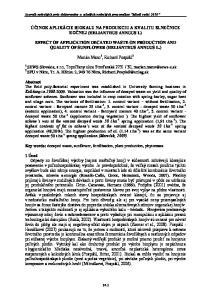 ÚČINOK APLIKÁCIE BIOKALU NA PRODUKCIU A KVALITU SLNEČNICE ROČNEJ (HELIANTHUS ANNUUS L)