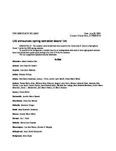 UIS announces spring semester deans list