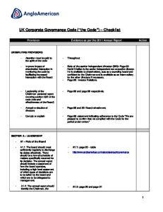 UK Corporate Governance Code ( the Code ) Checklist