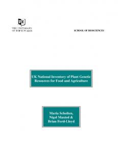 UK National Inventory of Plant Genetic Resources for Food and Agriculture