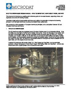 UK STYLE BREWHOUSE DESIGN MANUAL WHAT IS IMPORTANT, HOW DOES IT WORK, AND WHY