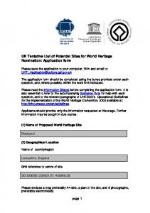 UK Tentative List of Potential Sites for World Heritage Nomination: Application form