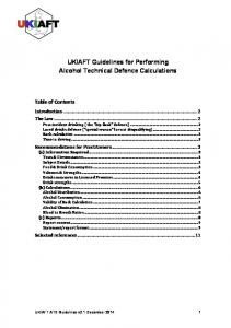 UKIAFT Guidelines for Performing Alcohol Technical Defence Calculations