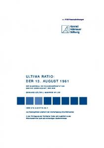ULTIMA RATIO: DER 13. AUGUST 1961