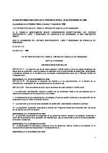 ULTIMA REFORMA PUBLICADA EN EL PERIODICO OFICIAL: 25 DE NOVIEMBRE DE 2005