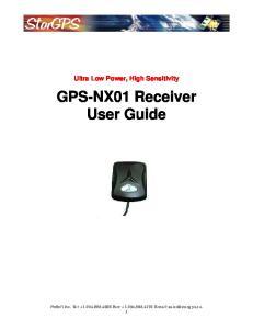 Ultra Low Power, High Sensitivity GPS-NX01 Receiver User Guide