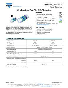 Ultra Precision Thin Film MELF Resistors