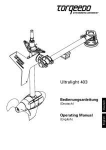 Ultralight 403. Bedienungsanleitung (Deutsch) Operating Manual (English) Deutsch. English