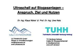 Ultraschall auf Biogasanlagen Anspruch, Ziel und Nutzen