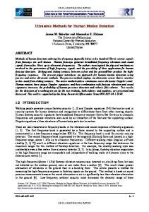 Ultrasonic Methods for Human Motion Detection