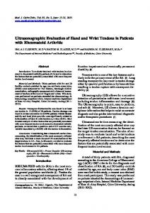 Ultrasonographic Evaluation of Hand and Wrist Tendons in Patients with Rheumatoid Arthritis