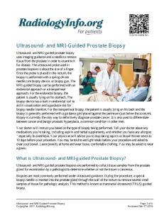 Ultrasound- and MRI-Guided Prostate Biopsy