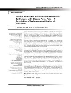 Ultrasound-Guided Interventional Procedures for Patients with Chronic Pelvic Pain A Description of Techniques and Review of Literature