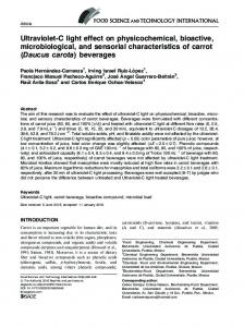 Ultraviolet-C light effect on physicochemical, bioactive, microbiological, and sensorial characteristics of carrot (Daucus carota) beverages