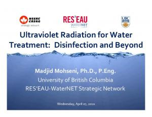Ultraviolet Radiation for Water Treatment: Disinfection and Beyond