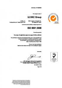 ULVAC Group ISO 9001:2008