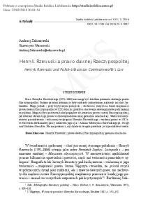 UMCS. Henryk Rzewuski a prawo dawnej Rzeczypospolitej. Henryk Rzewuski and Polish-Lithuanian Commonwealth s Law STRESZCZENIE