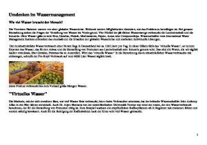 Umdenken im Wassermanagement.