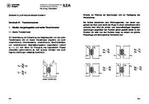 Umdruck IV: Transformatoren. 1 Idealer, festgekoppelter und realer Transformator