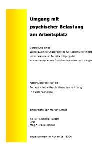 Umgang mit psychischer Belastung am Arbeitsplatz