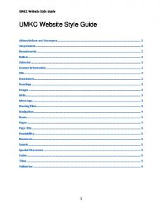 UMKC Website Style Guide