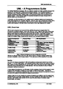 UML A Programmers Guide