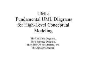 UML: Fundamental UML Diagrams for High-Level Conceptual Modeling